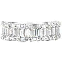 1.9 Carat Diamond Baguette 3/4 Eternity, Wedding Band, 14 Karat Gold, Ben Dannie