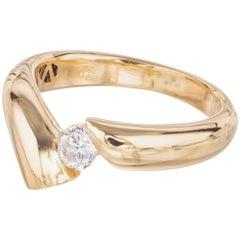.19 Carat Diamond Yellow Gold Nonsymmetrical Engagement Ring