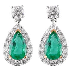1.9 Carat Emerald and Diamond Earrings in 18 Karat White Gold