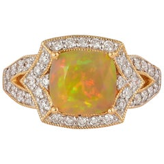 1.9 Carat Ethiopian Opal with Diamond Ring in 18 Karat Yellow Gold