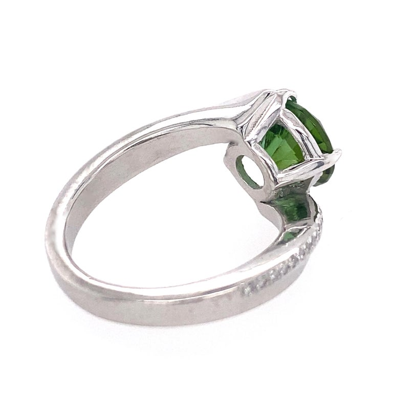 1.9 Carat Green Tourmaline Bypass Ring in Platinum Accented with Tiny Diamonds For Sale 4