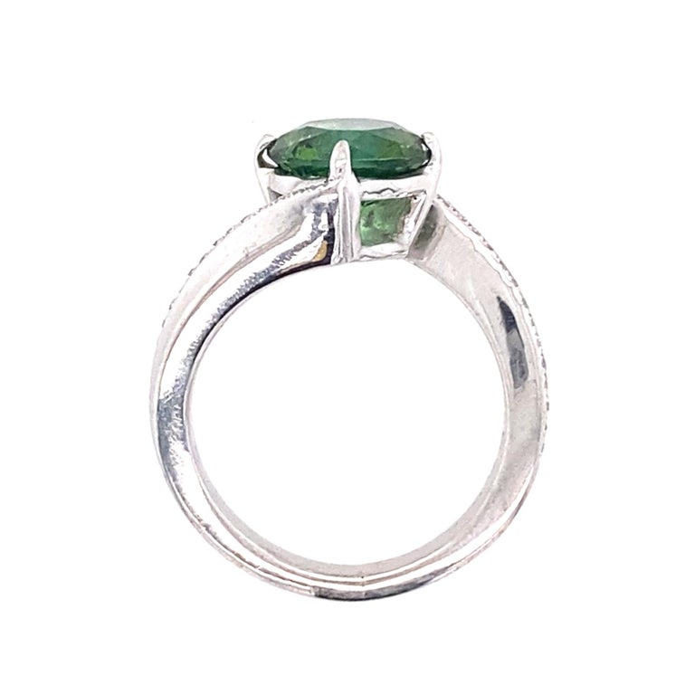 1.9 Carat Green Tourmaline Bypass Ring in Platinum Accented with Tiny Diamonds For Sale 5
