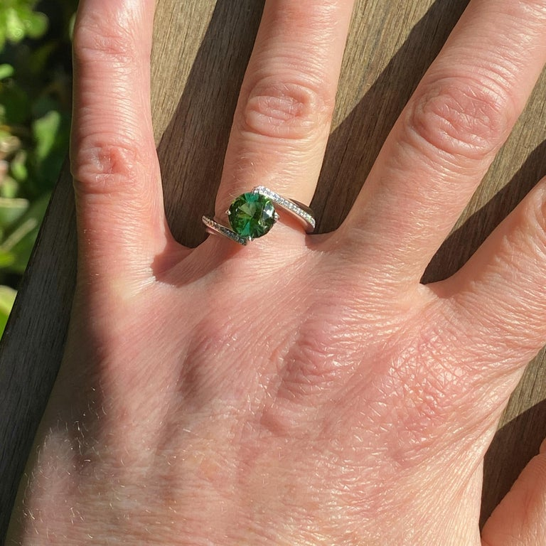 1.9 Carat Green Tourmaline Bypass Ring in Platinum Accented with Tiny Diamonds For Sale 6