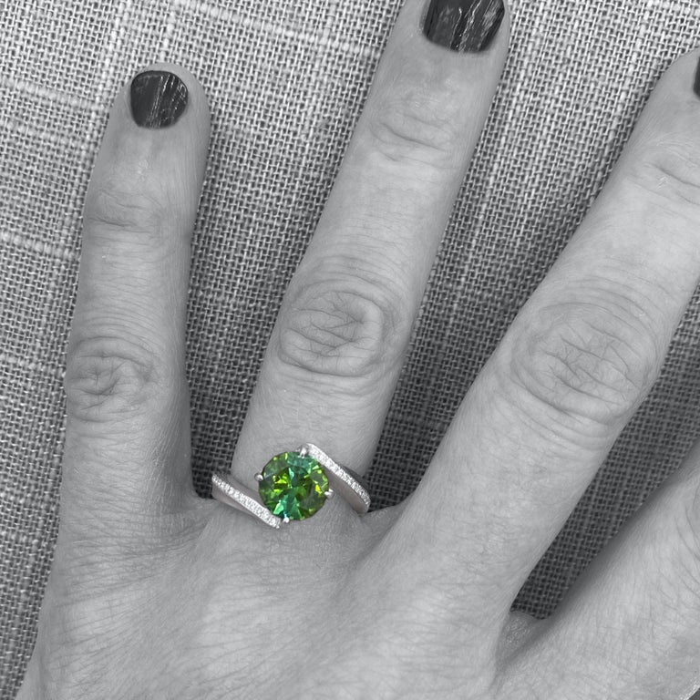 Women's 1.9 Carat Green Tourmaline Bypass Ring in Platinum Accented with Tiny Diamonds For Sale