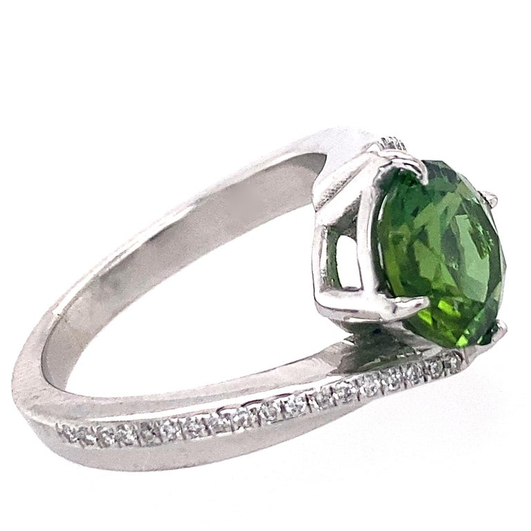 1.9 Carat Green Tourmaline Bypass Ring in Platinum Accented with Tiny Diamonds For Sale 1
