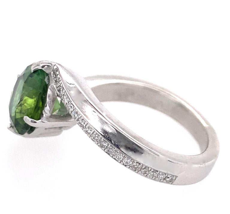 1.9 Carat Green Tourmaline Bypass Ring in Platinum Accented with Tiny Diamonds For Sale 2