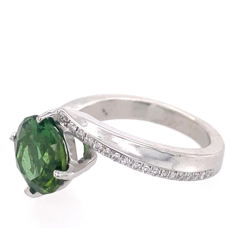 1.9 Carat Green Tourmaline Bypass Ring in Platinum Accented with Tiny Diamonds For Sale 3