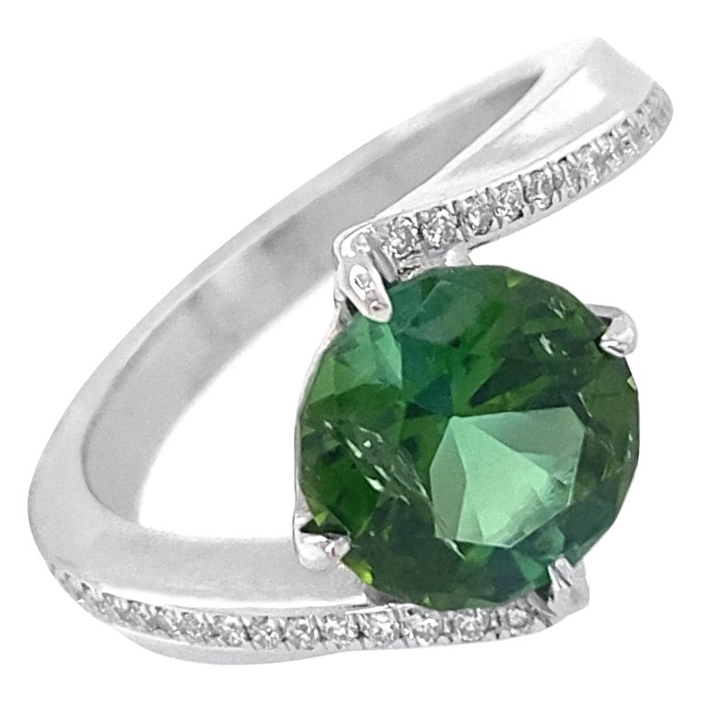 1.9 Carat Green Tourmaline Bypass Ring in Platinum Accented with Tiny Diamonds For Sale