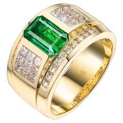 1.9 Carat Mens Colombian Emerald Diamond Ring 14 Karat Yellow Gold