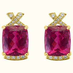 19 Carat Natural Pink Tourmaline and Diamond Cocktail Earring, 14 Karat Gold