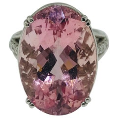 19 Carat Oval Natural Pink Morganite and .25 Carat Diamond Ring in White Gold