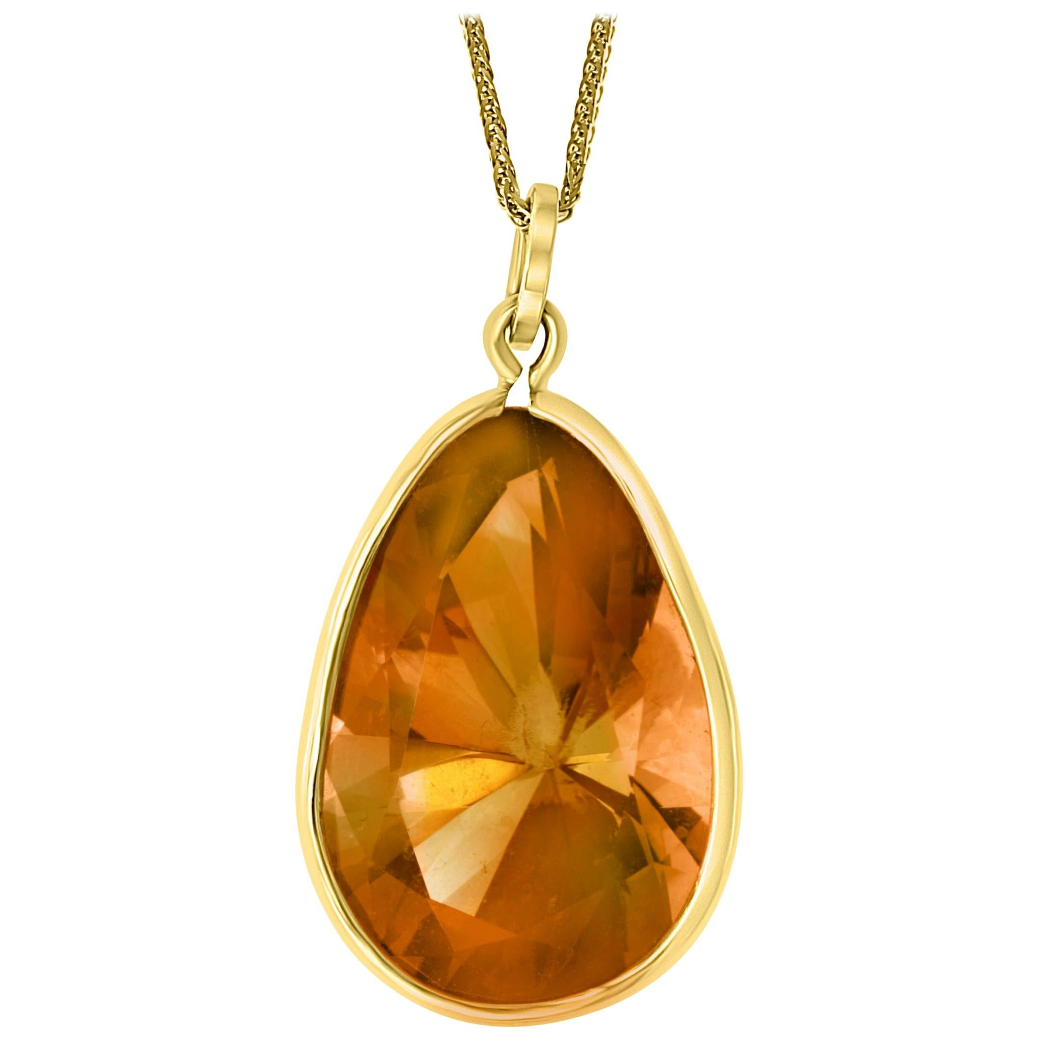 19 Carat Pear Shape Citrine Pendent or Necklace 14 Karat Yellow Gold with Chain