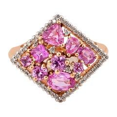 1.9 Carat Pink Sapphire Ring with Diamond in 18 Karat Rose Gold