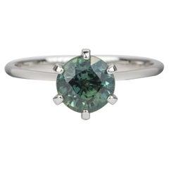 1.9 Carat Round Brilliant Cut Blue Green Sapphire 14 Karat Gold Ring AD1845-3
