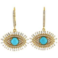 1.9 Carat Turquoise Diamond 18 Karat Gold Evil Eye Earrings