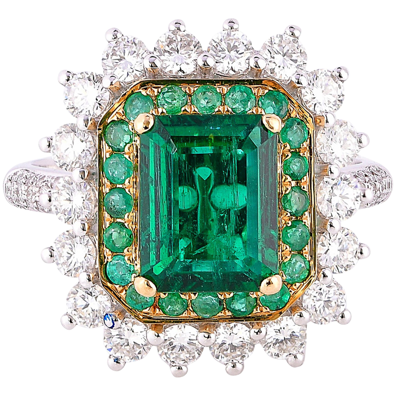 1.9 Carat Zambian Emerald and White Diamond Ring in 18 Karat White Gold