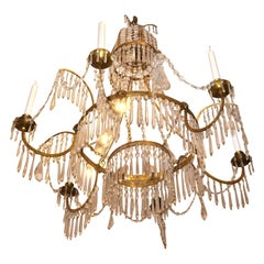 19 Century Baltic Empire Style Crystal and Gilt Bronze Chandelier