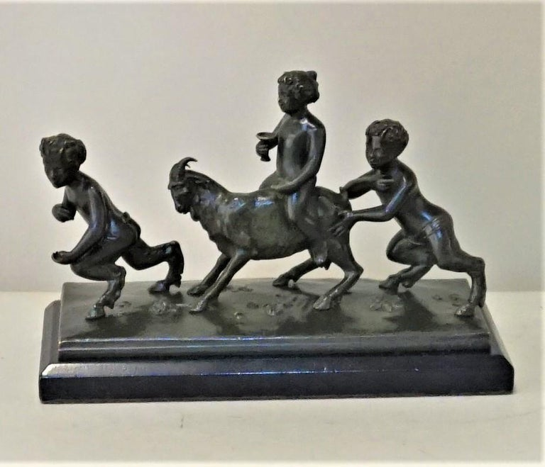 19th Century Bronze Sculpture of Playful Boy Riding Goat and Playing with Fauns For Sale 5