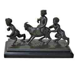 19th Century Bronze Sculpture of Playful Boy Riding Goat and Playing with Fauns
