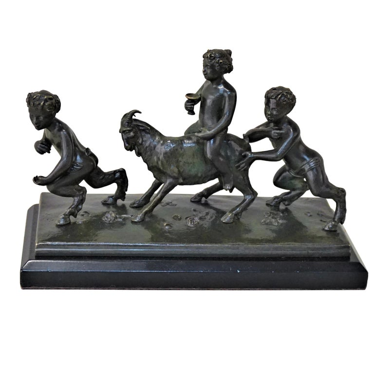 19th Century Bronze Sculpture of Playful Boy Riding Goat and Playing with Fauns For Sale