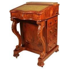 19th Century Burr Walnut Carved Davenport