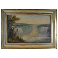 19thC Canadian Oil Paining of Niagara Falls showing the Lighthouse