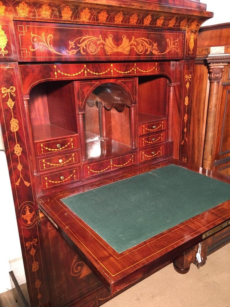 19th Century Charles X Dutch Mahogany Secretaire, 1830s For Sale 1