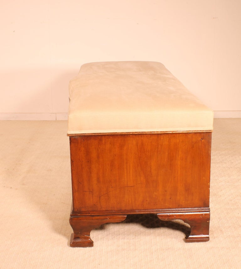 19th Century English Victorian Bench in Mahogany In Good Condition For Sale In Brussels, Brussels