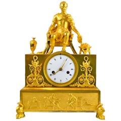 19 Century Figurative French Empire Gilt Bronze Clock of Caesar on His Throne