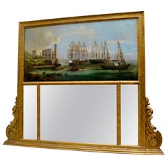19th Century German or Austrian Trumeau Mirror and Marine Painting