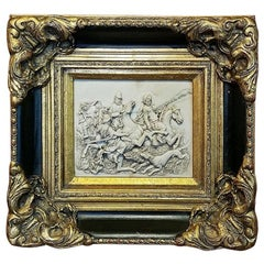 19 Century Indo Persian Framed Marble Plaque of Wild Boar Hunt