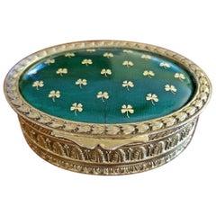 19 Century Irish Gilt Metal and Green Enamel Ring Box