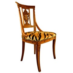 19th Century Neoclassical Swedish Chair Upholstered in Tiger Velvet