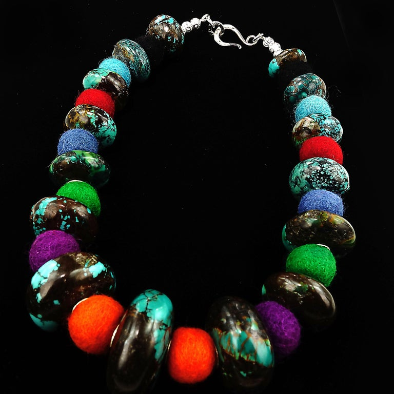 Artisan Exotic Graduated Turquoise Rondelles with Colorful Felted Wool Necklace For Sale