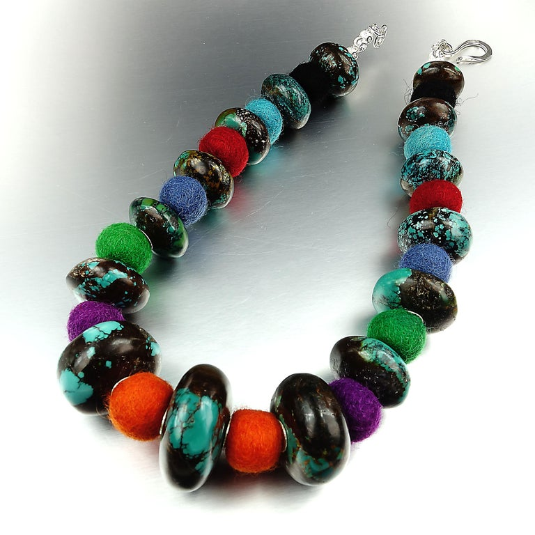 Exotic Graduated Turquoise Rondelles with Colorful Felted Wool Necklace In New Condition For Sale In Tuxedo Park , NY