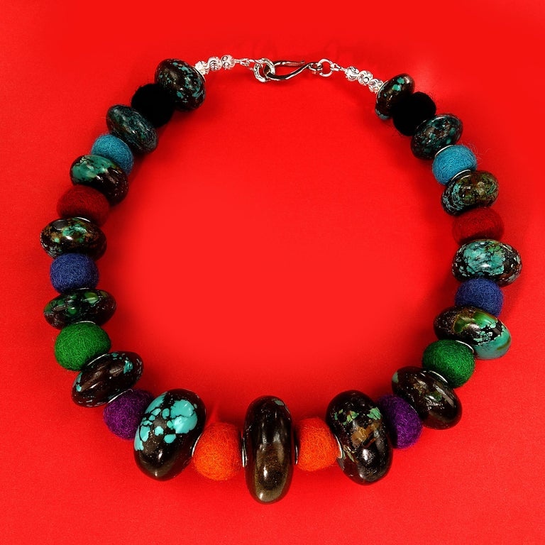 Exotic Graduated Turquoise Rondelles with Colorful Felted Wool Necklace For Sale 1