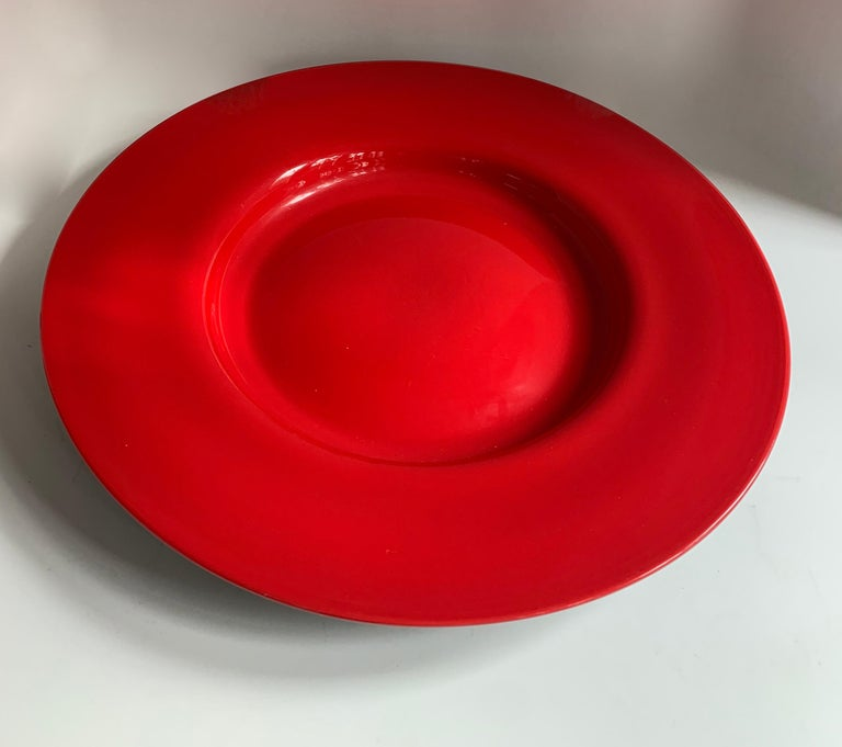 Round Red Italian Murano Glass Platter Plate For Sale 1