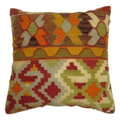 Square Green Mustard Orange Brown Kilim Pillow