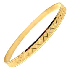 19 Karat Yellow Gold Brushed Finish Etched Bangle Bracelet