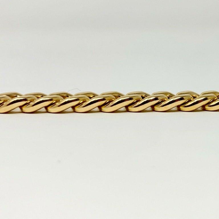 Women's or Men's 19 Karat Yellow Gold Hollow Cuban Curb Link Bracelet For Sale