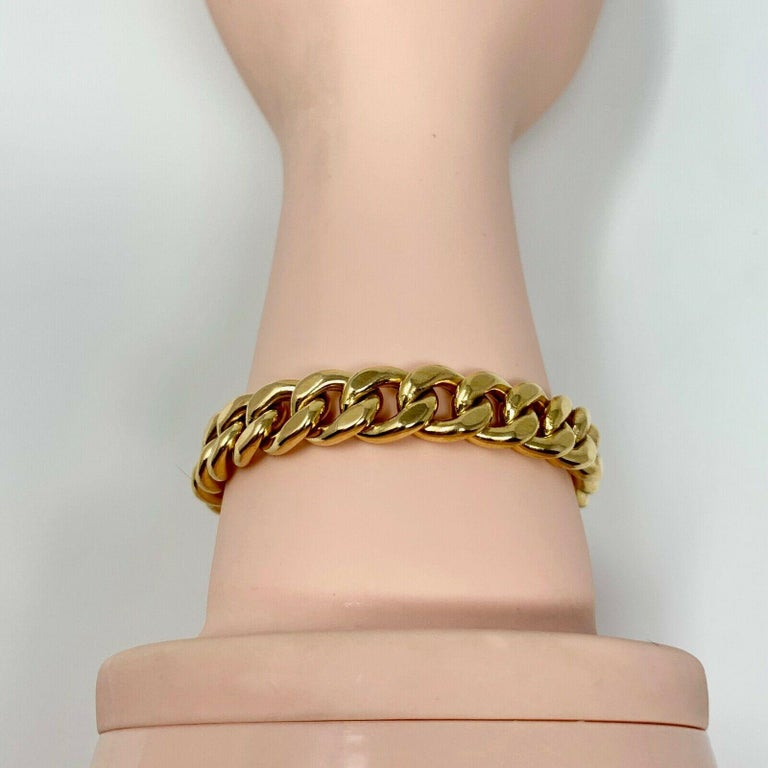 19 Karat Yellow Gold Hollow Cuban Curb Link Bracelet For Sale 2