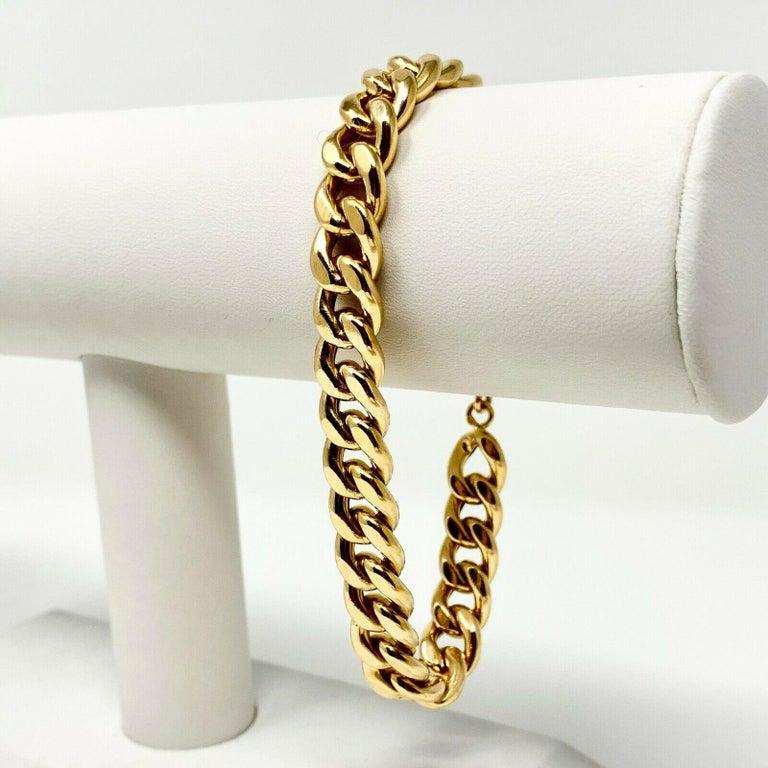 19k Yellow Gold Hollow 18.5g Cuban Curb Link 9mm Chain Bracelet Portugal 8.5