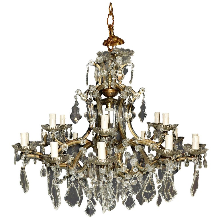 19-Light Maria Theresa Chandelier, Antique Ceiling Lamp Lustre Art Nouveau Large