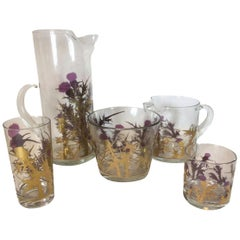 19 Pieces, Vintage Barware, Signed Gregory Duncan, Thistle Pattern