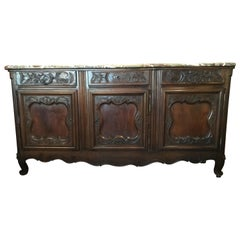 19th Century French Country Sideboard/ Buffet with Rouge Marble Top