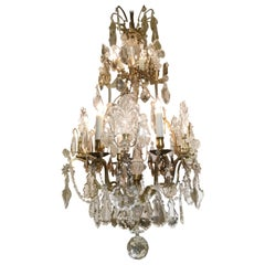 19th Century French Crystal and Gilt Bronze Chandelier with Nine Lights