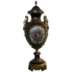 19th Century Serves Porcelain Urn Mounted in Bronze Doré Mounts