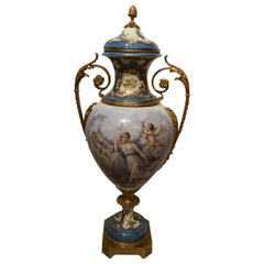 19th Century Sèvres Porcelain Urn, Palace Size in Pale Blues and Pastel Hues