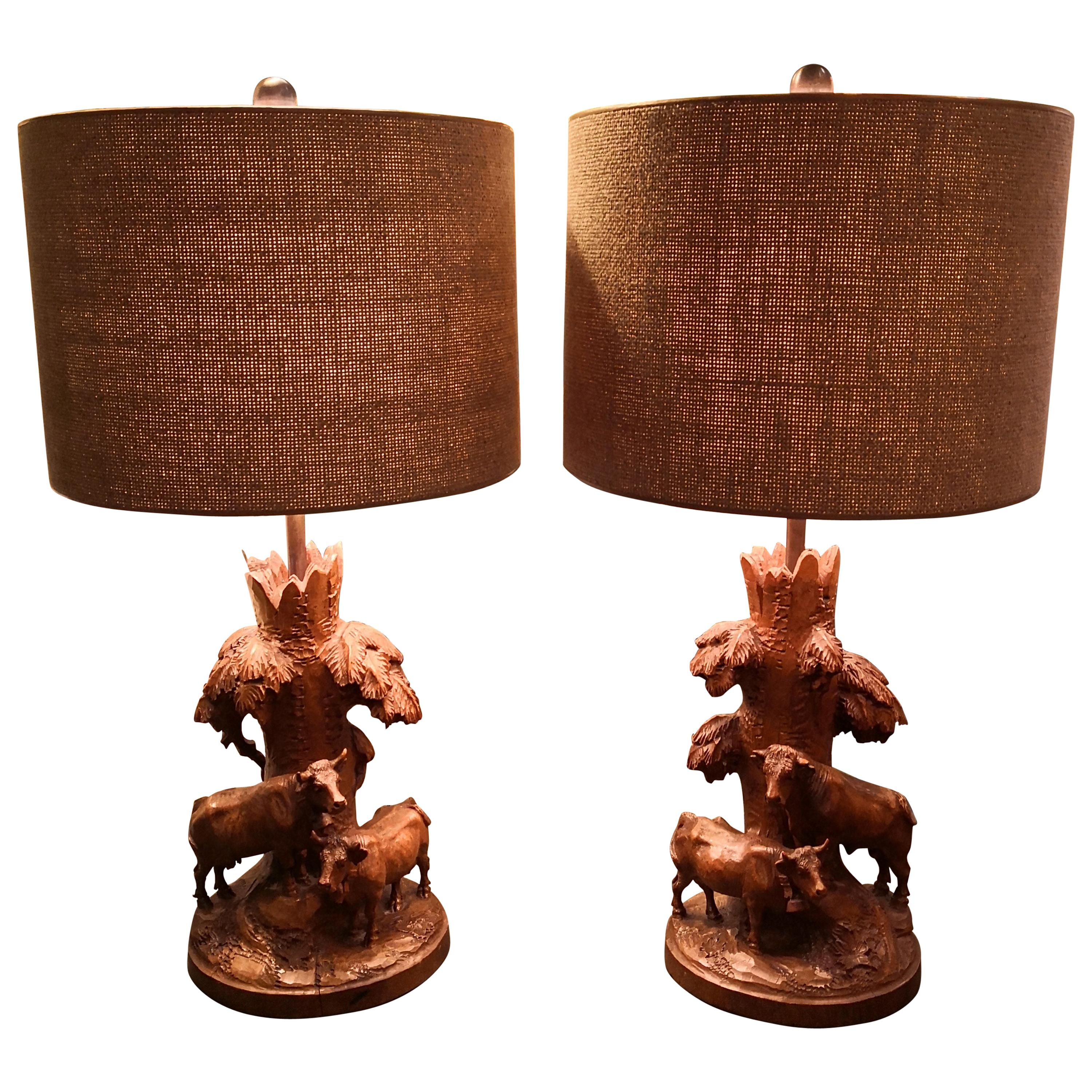 19th Century Black Forest Pair of Table Lamps Hand-Carved Sculptures