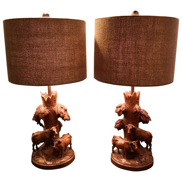 19th Century Black Forest Pair of Table Lamps Hand-Carved Sculptures For Sale